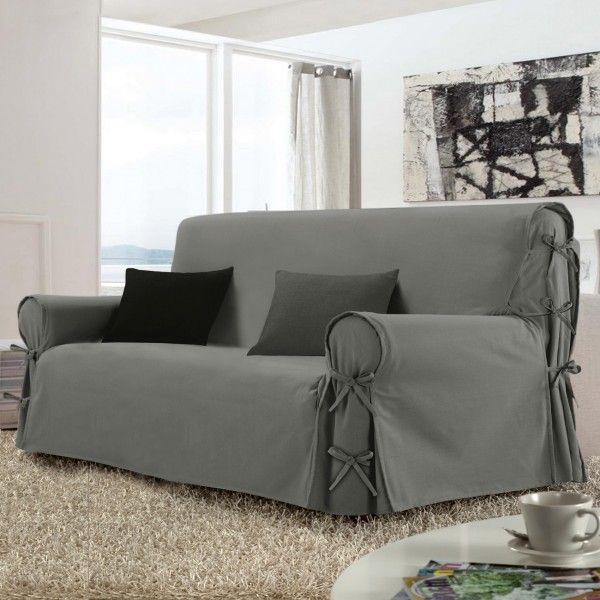 housse de canap 3 places stella gris d co textile eminza. Black Bedroom Furniture Sets. Home Design Ideas