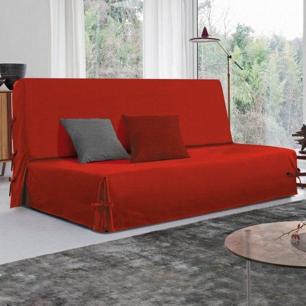 Housse de canap chaise rouge eminza for Housse clic clac rouge