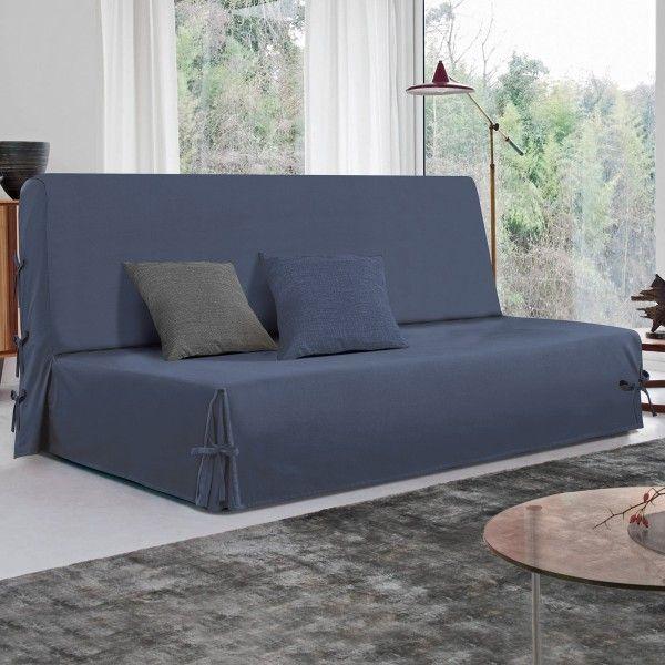 housse de clic clac stella bleu d co textile eminza. Black Bedroom Furniture Sets. Home Design Ideas
