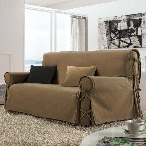 housse de canap 2 places stella taupe d co textile eminza. Black Bedroom Furniture Sets. Home Design Ideas