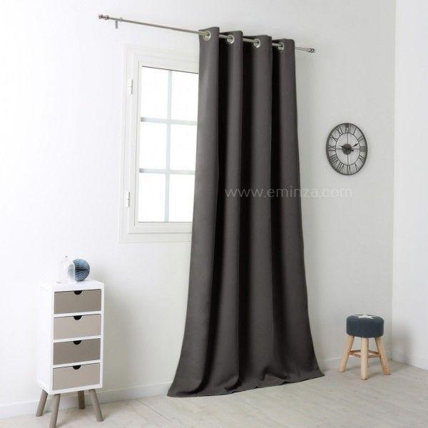 rideau occultant 140 x h280 cm notte gris anthracite. Black Bedroom Furniture Sets. Home Design Ideas