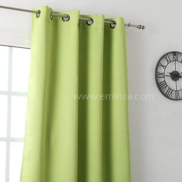 rideau occultant 140 x h280 cm notte vert anis rideau voilage store eminza. Black Bedroom Furniture Sets. Home Design Ideas