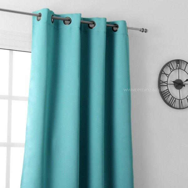 rideau occultant 135 x h250 cm notte vert celadon rideau voilage store eminza. Black Bedroom Furniture Sets. Home Design Ideas