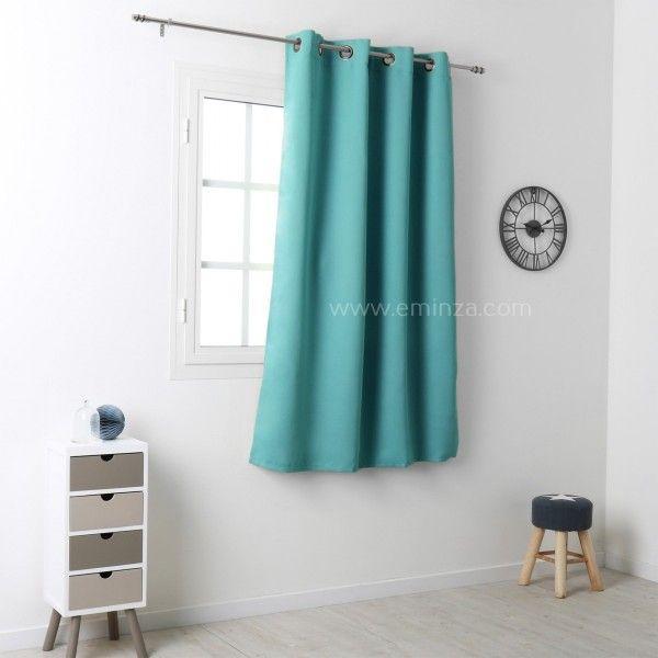 rideau occultant 135 x h180 cm notte vert celadon rideau voilage store eminza. Black Bedroom Furniture Sets. Home Design Ideas