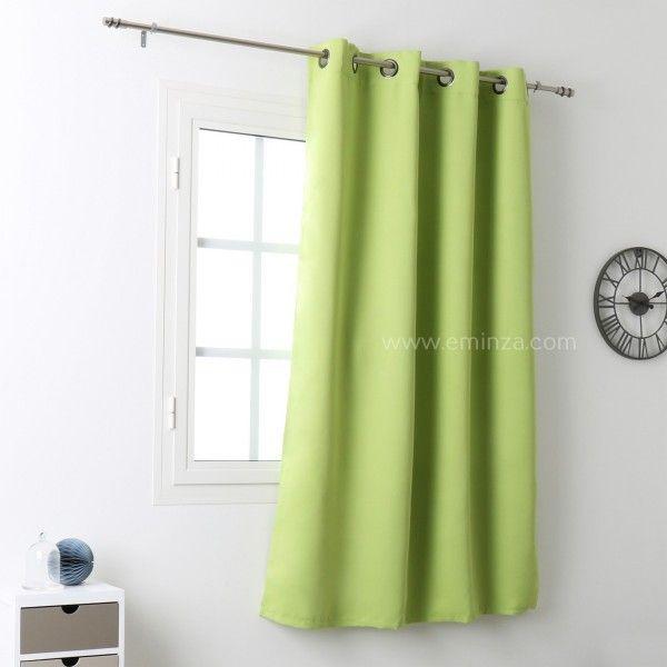 rideau occultant 135 x h180 cm notte vert anis rideau voilage store eminza. Black Bedroom Furniture Sets. Home Design Ideas