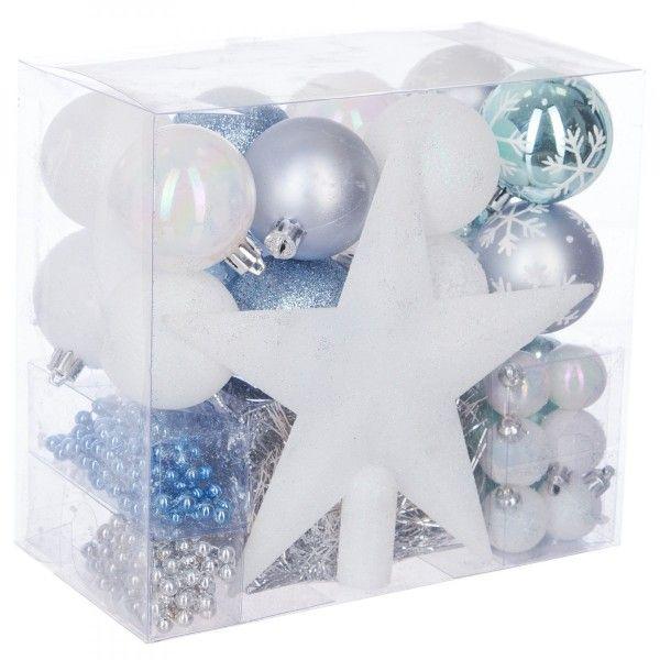 kit de d coration de sapin de no l aspen blanc bleu boule et d co de sapin eminza. Black Bedroom Furniture Sets. Home Design Ideas