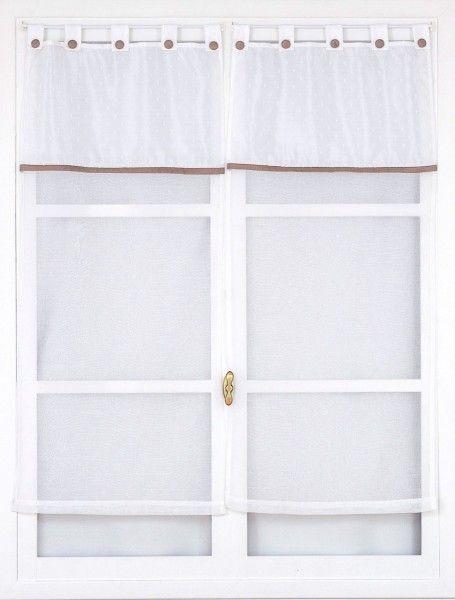 Paire de voilages droits (60 x 90 cm) Léa Marron Vison - Rideau ...