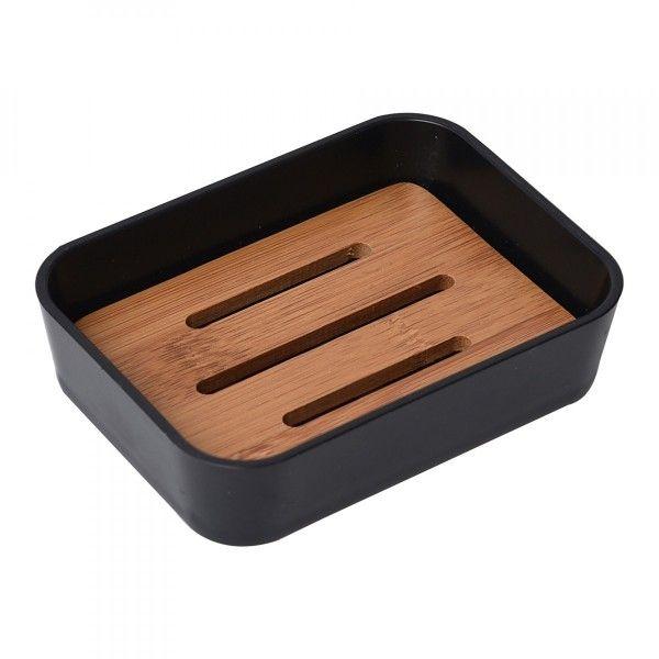 Porte savon bambou noir accessoire salle de bain eminza - Accessoire salle de bain noir ...
