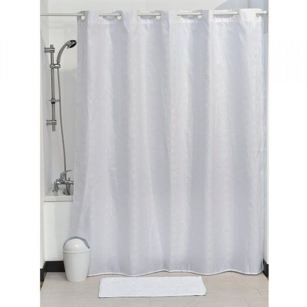 rideau de douche 200 cm graphy blanc rideau de douche eminza. Black Bedroom Furniture Sets. Home Design Ideas