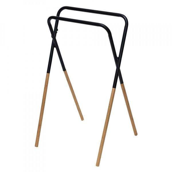 Porte Serviette Pliable Bambou Et Noir Rangement Eminza
