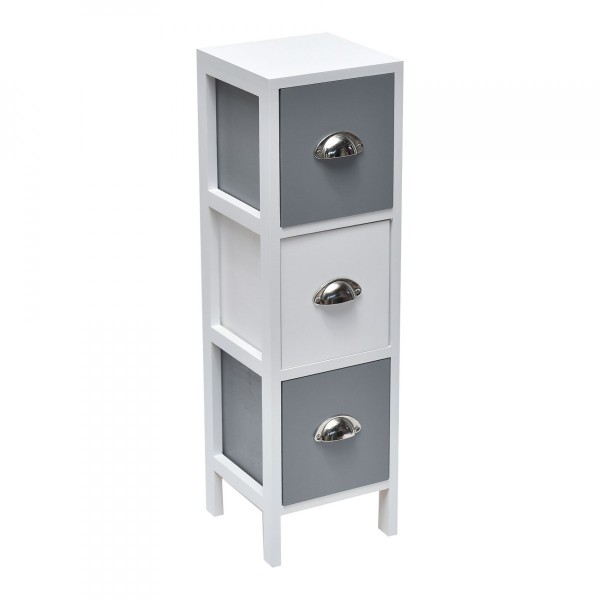 meuble 3 tiroirs guppy blanc et gris meuble de salle de bain eminza. Black Bedroom Furniture Sets. Home Design Ideas