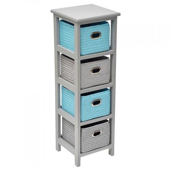 meuble carr 4 paniers rerio gris et bleu turquoise meuble de salle de bain eminza. Black Bedroom Furniture Sets. Home Design Ideas