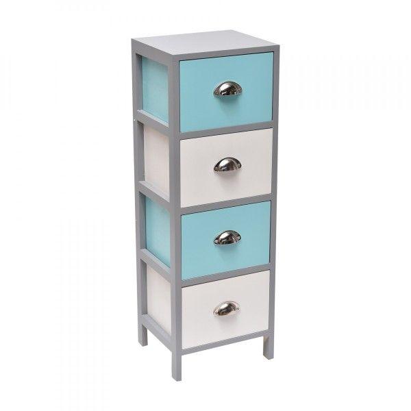 Meuble 4 tiroirs guppy blanc et bleu turquoise meuble de salle de bain eminza - Meuble salle de bain bleu turquoise ...