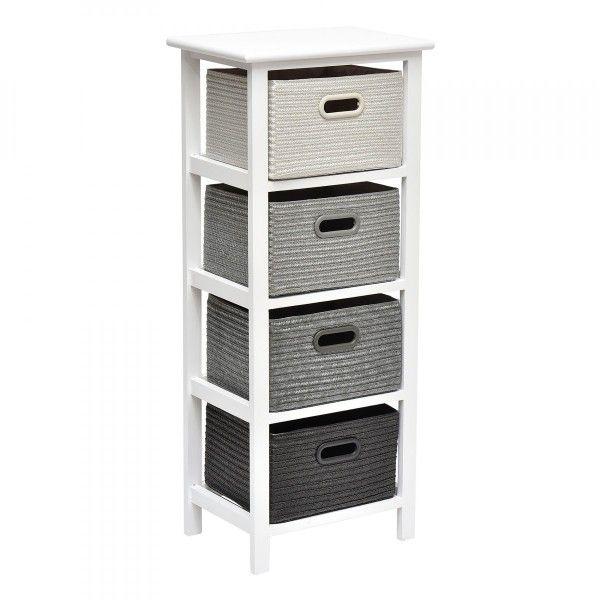 meuble rectangulaire 4 paniers rerio gris fonc et gris clair meuble de salle de bain eminza. Black Bedroom Furniture Sets. Home Design Ideas
