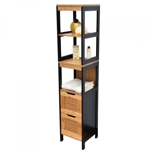 meuble colonne de salle de bain phuket noir meuble de. Black Bedroom Furniture Sets. Home Design Ideas