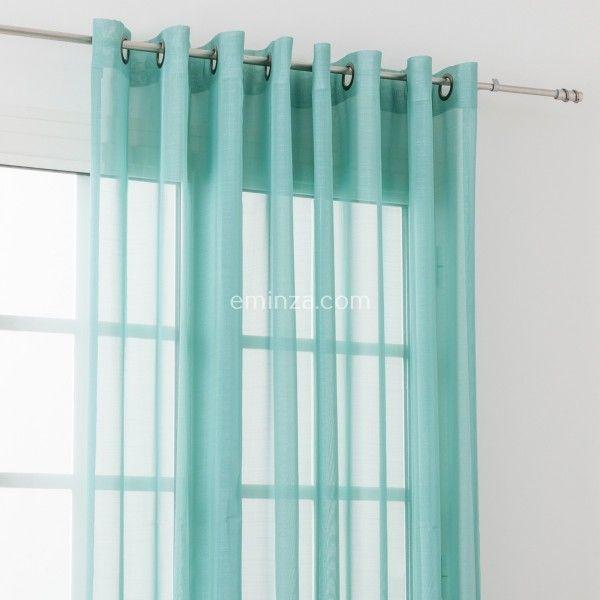 voilage tamine 300 x 240cm givr e bleu vert voilage. Black Bedroom Furniture Sets. Home Design Ideas