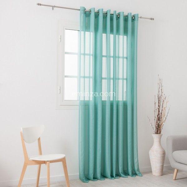 voilage tamine 300 x 240cm givr e bleu vert voilage eminza. Black Bedroom Furniture Sets. Home Design Ideas