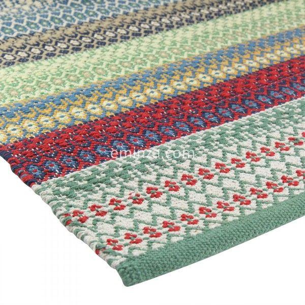 tapis coton 170 cm indira cyr vert - Tapis Coton