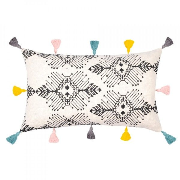 Coussin rectangulaire Tribal Ecru