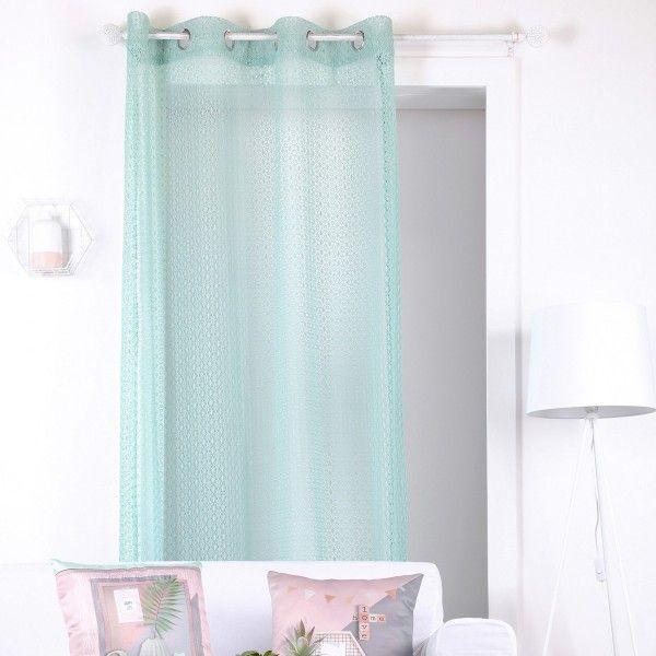 voilage 140 x 260 cm homa vert celadon voilage eminza. Black Bedroom Furniture Sets. Home Design Ideas