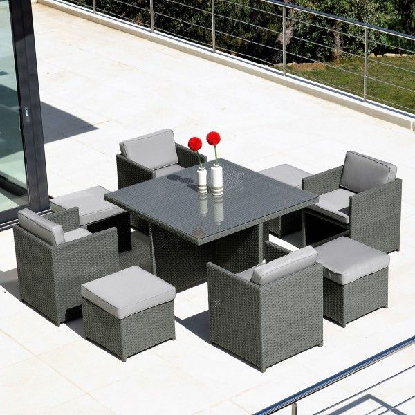 salon de jardin verona gris 8 places salon de jardin. Black Bedroom Furniture Sets. Home Design Ideas