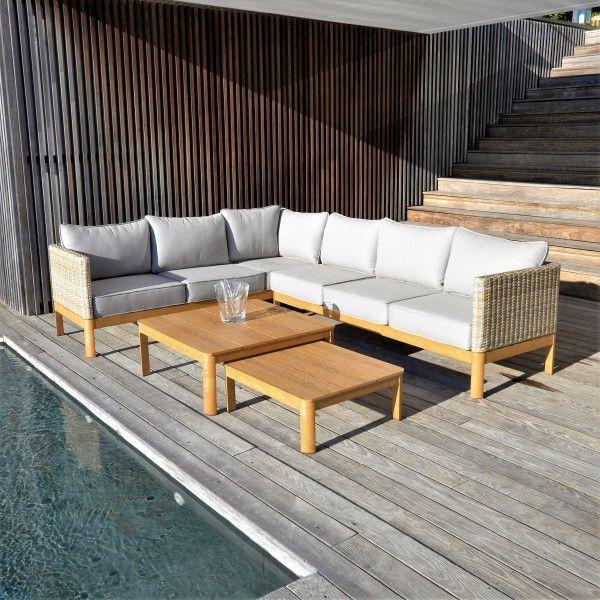 Salon de jardin, table et chaise + Naturel + Résine tressée - Eminza