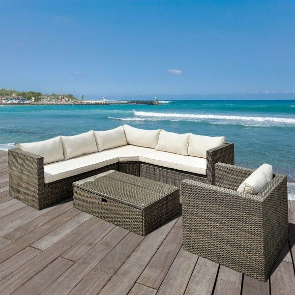 salon de jardin cancun marron chin beige 6 places. Black Bedroom Furniture Sets. Home Design Ideas