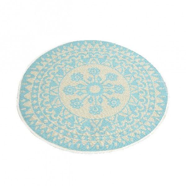 tapis rond d150 cm anoki bleu clair tapis eminza. Black Bedroom Furniture Sets. Home Design Ideas