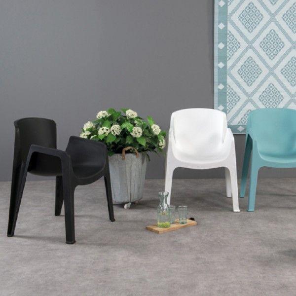 Chaise de jardin empilable New York - Noir - Salon de jardin, table ...