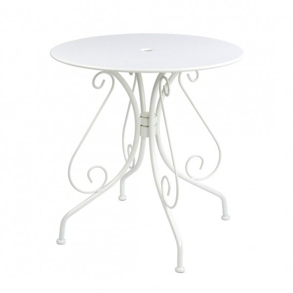 Table de jardin ronde Paris style fer forgé - Blanc - Salon de ...