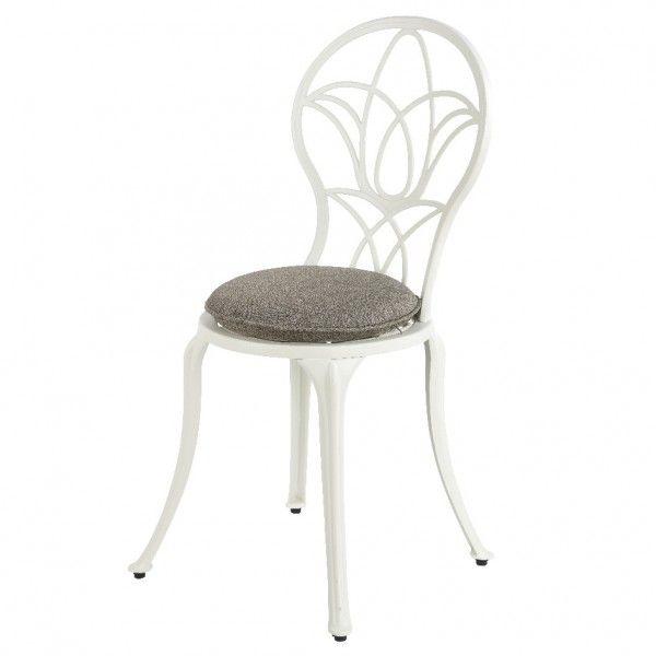 Lot de 2 chaises de jardin style fer forgé Saint-Tropez - Blanc