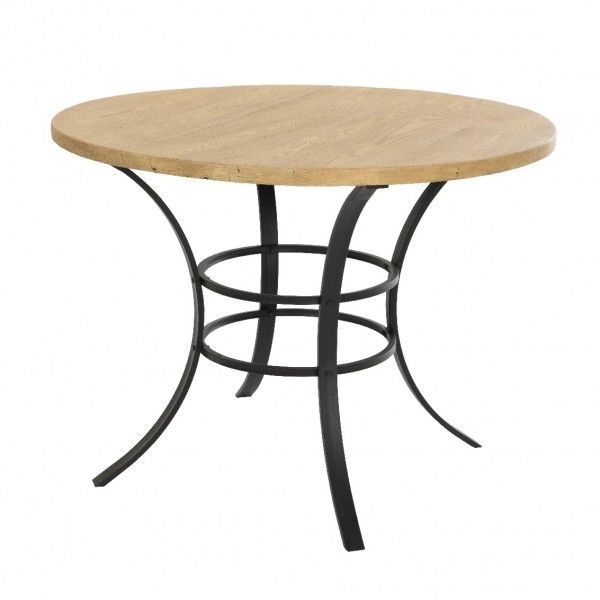 Table de jardin ronde Bois Dublin - Noir/Naturel