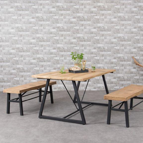 Table De Jardin Rectangulaire Bois Dublin  NoirNaturel  Table De