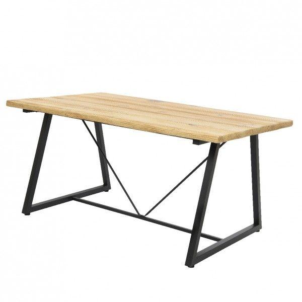 Table de jardin rectangulaire Bois Dublin - Noir/Naturel - Table de ...