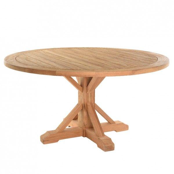 Table de jardin ronde en Teck Geneva - Naturel