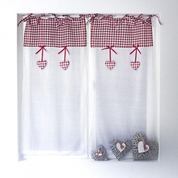 Paire de voilages 60 x 120 cm charlotte rouge rideau voilage store eminza for Bon prix rideaux