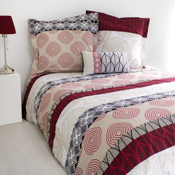 housse de couette rouge linge de lit eminza. Black Bedroom Furniture Sets. Home Design Ideas
