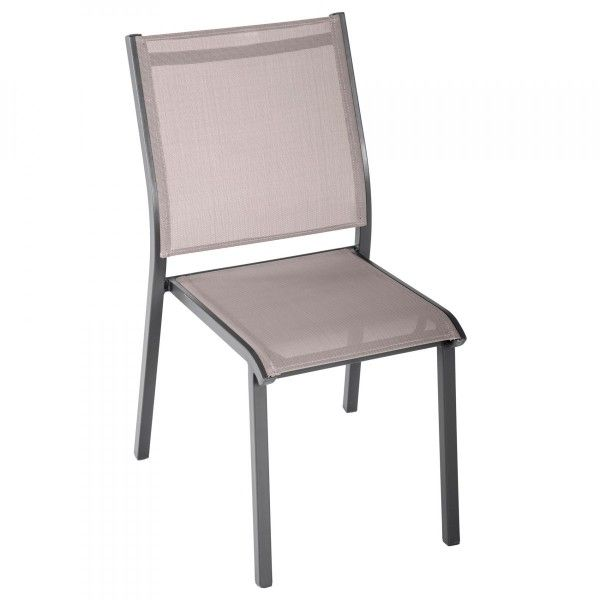 Chaise de jardin empilable Essentia - Taupe/Mastic - Chaise et ...