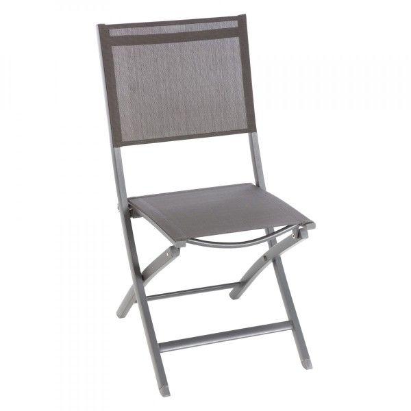 Chaise de jardin alu pliante Essentia AnthraciteGris