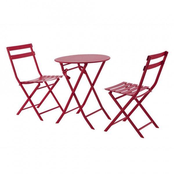 table de jardin ronde pliante m tal greensboro d60 cm rouge salon de jardin table et. Black Bedroom Furniture Sets. Home Design Ideas