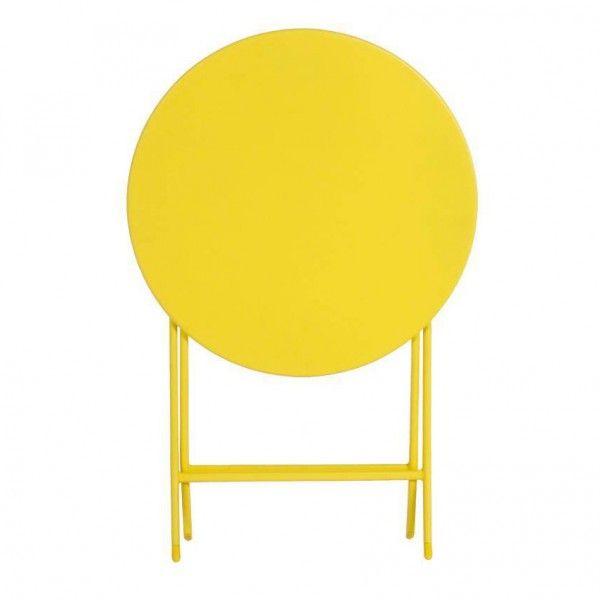 Table de jardin ronde pliante Métal Greensboro (D60 cm) - Jaune