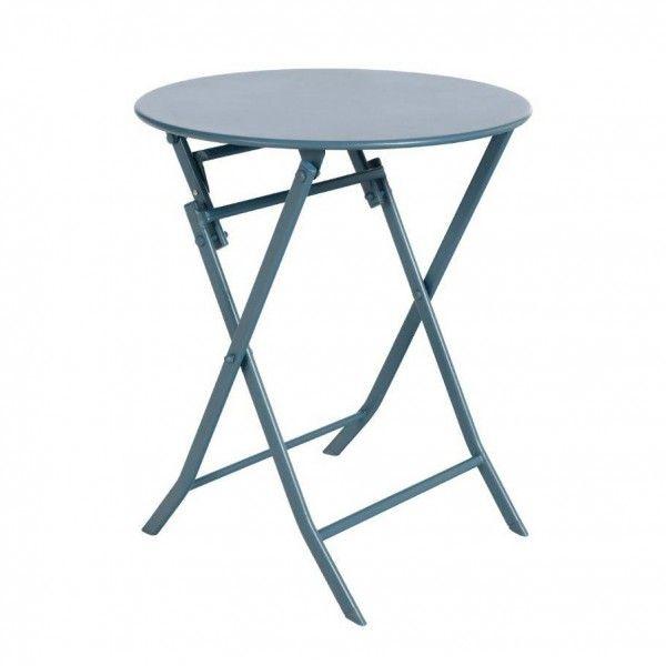 Table de jardin ronde pliante Métal Greensboro (D60 cm) - Bleu orage ...