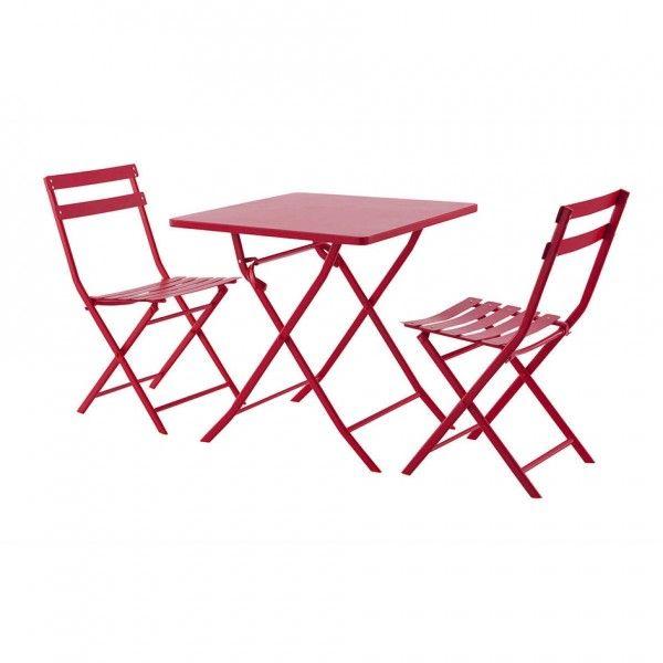 Table de jardin pliante carrée Métal Greensboro (70 x 70 cm) - Rouge ...