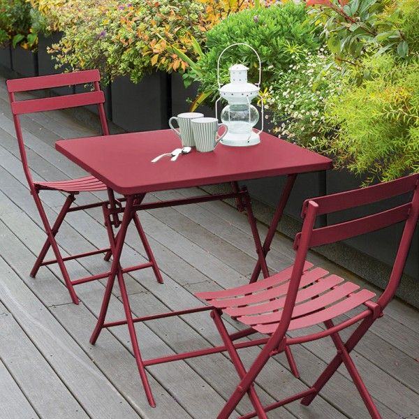 table de jardin pliante carr e m tal greensboro 70 x 70 cm rouge salon de jardin table et. Black Bedroom Furniture Sets. Home Design Ideas