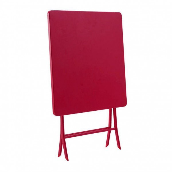 Table de jardin pliante carrée Métal Greensboro (70 x 70 cm) - Rouge