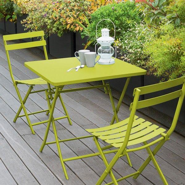 Table de jardin pliante carrée Métal Greensboro (70 x 70 cm) - Vert ...