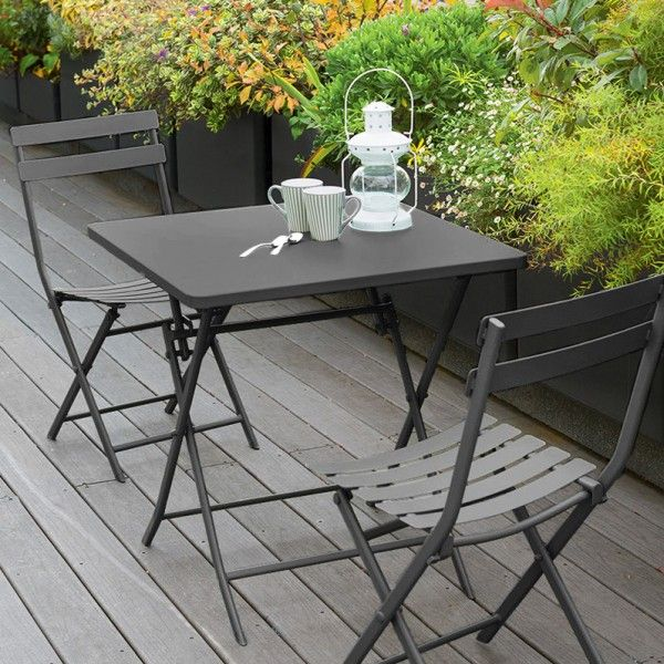 Table de jardin pliante carrée Métal Greensboro (70 x 70 cm) - Ardoise