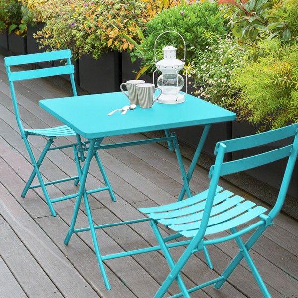 Table de jardin carrée pliante Métal Greensboro (70 x 70 cm) - Turquoise