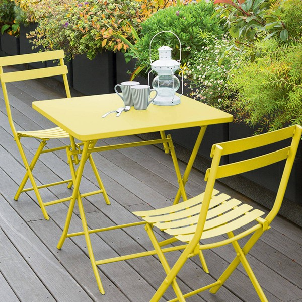 Table de jardin pliante carrée Métal Greensboro (70 x 70 cm) - Jaune ...