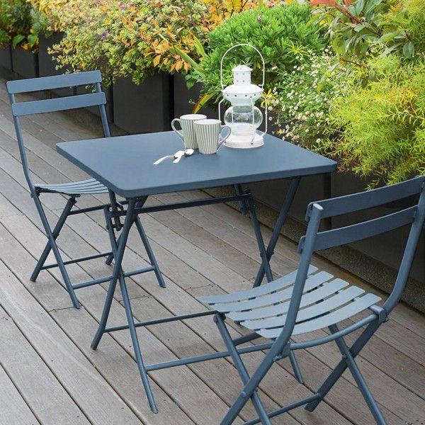 Table de jardin pliante carrée Métal Greensboro (70 x 70 cm) - Bleu ...